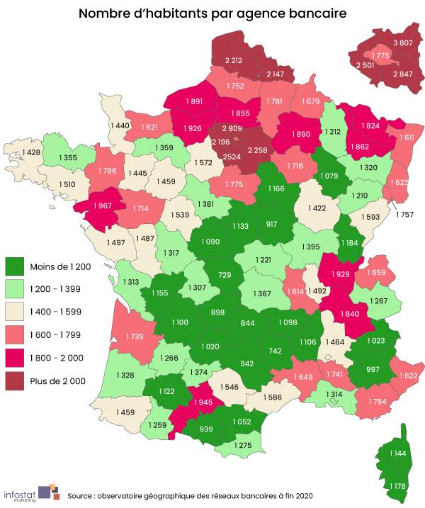 Nombre moyen d'habitants par agence bancaire en France