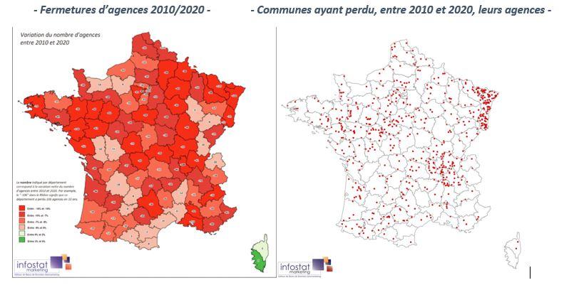 Fermetures d'agences en France
